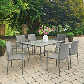 Umbria Concrete Tile Rectangular Outdoor Table With 6 Arm Chairs