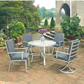 South Beach 5 Pc. Round Outdoor 42-1/2'' Aluminum Dining Table Set with 2 Arm Chairs & 2 Swivel Rocking Chairs, Grey Finish