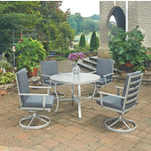 South Beach 5 Pc. Round Outdoor 42-1/2'' Aluminum Dining Table Set with 4 Swivel Rocking Chairs, Grey Finish