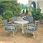 South Beach 5 Pc. Round Outdoor 42-1/2'' Aluminum Dining Table Set with 4 Arm Chairs, Grey Finish