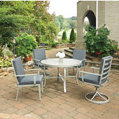 South Beach 5 Pc. Round Outdoor 48'' Aluminum Dining Table Set with 2 Arm Chairs & 2 Swivel Rocking Chairs, Grey Finish