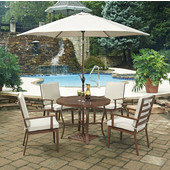 Key West 7 Pc. 42-1/2'' Round Outdoor 42-1/2'' Aluminum Dining Table with 4 Chairs, & Umbrella, Chocolate Finish