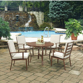 Key West 5 Pc. 42-1/2'' Round Outdoor 42-1/2'' Aluminum Dining Table with 4  Arm Chairs, Chocolate Finish
