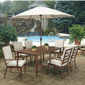 Key West 9 Pc. Rectangular Outdoor 71'' Aluminum Dining Table with 6 Arm Chairs & Umbrella, Chocolate Finish