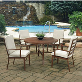 Key West 5 Pc. Round Outdoor 48'' Aluminum Dining Table with 4 Arm Chairs, Chocolate Finish
