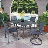 Stone Veneer 5-Piece Dining Set - Table with Slate Stone Veneer Top, Two Woven Swivel Chairs, and Two Woven Arm Chairs in Black