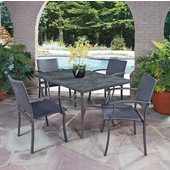 Stone Veneer 5-Piece Dining Set - Table with Slate Stone Veneer Top and Four Woven Arm Chairs in Slate/Wire Brushed