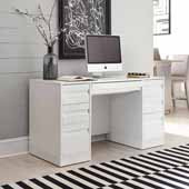 Linear Pedestal Desk, White, 54''W x 24''D x 30''H