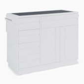 Linear Collection Kitchen Island in White, 49-1/2'' W x 34'' D x 36-1/4'' H