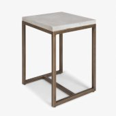 Geometric Collection End Table in Chalky White, 18'' W x 16'' D x 22'' H