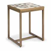 Geometric II End Table In Brushed Brass Powder Coated Paint, 18-1/4''W X 16-1/4''D X 22''H