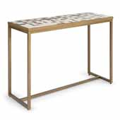Geometric II Console Table In Brushed Brass Powder Coated Paint, 44''W X 16-1/4''D X 30''H