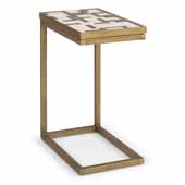 Geometric II Pull-Up Table In Brushed Brass Powder Coated Paint, 18-1/4''W X 12''D X 24''H