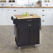 Mix & Match Cuisine Cart, Black Base, Wood Top, 32-1/2'' W x 18-3/4'' D x 36'' H