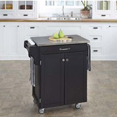 Mix & Match Cuisine Cart, Black Base, Stainless Steel Top, 32-1/2'' W x 18-3/4'' D x 36'' H