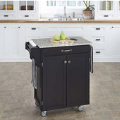 Mix & Match Cuisine Cart, Black Base, Granite Top, 32-1/2'' W x 18-3/4'' D x 36'' H