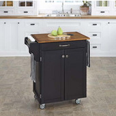 Mix & Match 2 Door w/ Drawer Cuisine Cart Cabinet, Black Finish with Oak Top, 32-1/2'' W x 18-3/4'' D x 35-1/2'' H