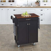 Mix & Match 2 Door w/ Drawer Cuisine Cart Cabinet, Black Finish with Cherry Top, 32-1/2'' W x 18-3/4'' D x 35-1/2'' H