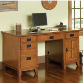 - Arts & Crafts Pedestal Desk, Cottage Oak
