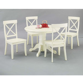 Round Pedestal Antique White Dining Table Set with Antique White Table Top & Base and 4 Side Chairs