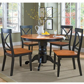 - 5-Pc. Round Pedestal Dining Set, Table w/4 Chairs, Ebony