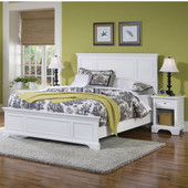 Naples Queen Bed & Night Stand, White Finish