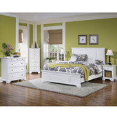 Naples Queen Bed, Night Stand & Chest, White Finish