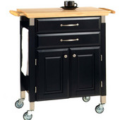 Dolly Madison Prep & Serve Kitchen Cart, Black with Natural Top, 33-3/4'' W x 18-1/2'' D x 36'' H