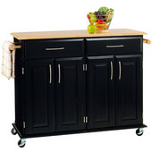 Dolly Madison Kitchen Island Cart, Black w/Natural Top, 48-1/4'' W x 18-1/4'' D x 35-1/2'' H