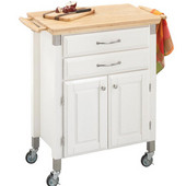 Dolly Madison Prep & Serve Kitchen Cart, White with Natural Top, 33-3/4'' W x 18-1/2'' D x 36'' H