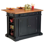 Kitchen Island, Ebony Finish, 48'' W x 25'' D x 36'' H