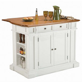Kitchen Island with Oak Top, White Finish, 48'' W x 25'' D x 36''H