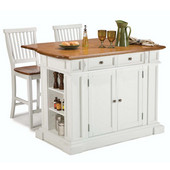 Kitchen Island with Oak Top & Pair of Bar Stools, White Finish, 48'' W x 25'' D x 36''H