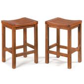 24'' High Slatted Seat Wood Bar Stool, Cottage Oak Finish, 15-3/4'' W x 13-3/4'' D x 24'' H