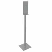Hand Sanitizer Dispenser Stand in Silver Finish, 13''W x 13''D x 55''H