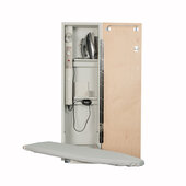 Iron-A-Way AE-42 Deluxe Swivel Ironing Center with Wood Door Options, Cool Grey Interior, Unfinished Exterior, 15'' W x 7-3/4'' D x 52'' H