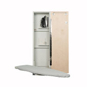 Iron-A-Way ANE-42 Deluxe Swivel Non-Electric Ironing Center with Wood Door Options, Cool Grey Interior, Unfinished Exterior, 15'' W x 7-3/4'' D x 52'' H