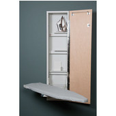 Iron-A-Way ANE-46 Premium Swivel Non-Electric Ironing Center with Wood Door Options, Cool Grey Interior, Unfinished Exterior, 15'' W x 7-3/4'' D x 60-5/8'' H