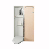 Iron-A-Way NE-42 Deluxe Non-Electric Ironing Center with Wood Door Options, Cool Grey Interior, Unfinished Exterior, 15'' W x 7-3/4'' D x 52'' H