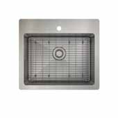 ProInox H75 kitchen sink dualmount, single with grid, stainless steel 25''W x 22''D x 9''H