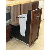 18'' Trash or Recycling Cabinet with Double 40 Qt. (10 Gal.) Trash Cans, Wood Front Ready Panel with Black Base, Min. Cabinet Opening: 18'' Wide