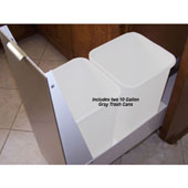 18'' Trash or Recycling Cabinet with Double 40 Qt. (10 Gal.) Trash Cans, Stainless Steel Panel with White Base, Min. Cabinet Opening: 18'' Wide