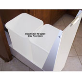 18'' Trash or Recycling Cabinet with Double 40 Qt. (10 Gal.) Trash Cans, White Panel & Base, Min. Cabinet Opening: 18'' Wide