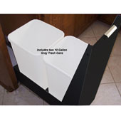 18'' Trash or Recycling Cabinet with Double 40 Qt. (10 Gal.) Trash Cans, Black Panel & Base, Min. Cabinet Opening: 18'' Wide