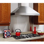 Wall Pyramid Range Hood with Slim Baffle Filters, 36'' W x 24-1/8'' D x 14'' H, 900 CFM, 10'' Round Transition, Stainless Steel