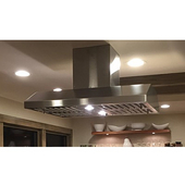 Slim Line Island Range Hood with Air Ring Fan, 385 CFM, Different Sizes & Finishes Available