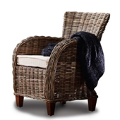 Infinita Wickerworks Baroness Wicker Lounge Armchair Set with Two (2) Chairs and Cushions, 27-1/5'' W x 29-1/5'' D x 35-2/5'' H