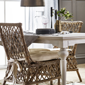 Infinita Wickerworks Aristocrat Wicker Dining Armchair Set with Two (2) Chairs and Cushions, 21-3/10'' W x 26-4/5'' D x 37'' H