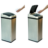 13 Gallon Rectangular Extra-Wide Stainless Steel Automatic Sensor Touchless Trash Can, 10.75''W x 12.88''D x 28.25''H