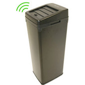 14 Gallon Black Steel Automatic Sensor Touchless Trash Can with Space Saving Lid